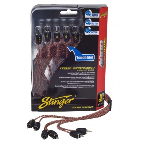 STINGER 4000 SERIE TWISTED RCA KABEL 3,66M 6 KANAL
